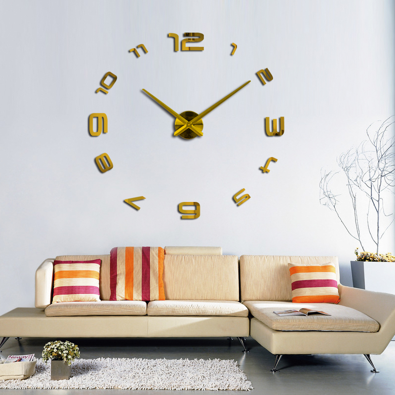 2019 3d diy qonaq otagi yeni akril kvars saati divar saati diy divar - Ev dekoru - Fotoqrafiya 5