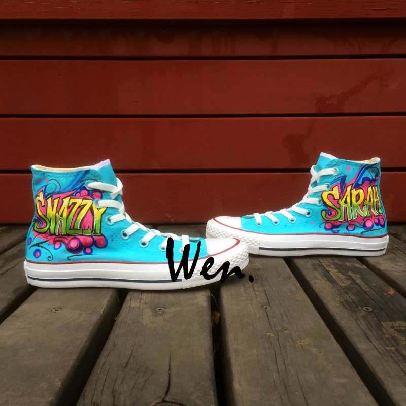 ФОТО Wen Hand Painted Shoes Design Custom Snazzy Sarah Men Women's Blue High Top Canvas Sneakers