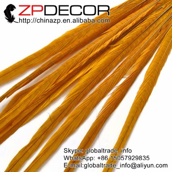 ZPDECOR 100 pieces/lot 50-55cm(20-22inch) Beautiful Dyed Golden Ringneck Pheasant Tail Drama Feathers
