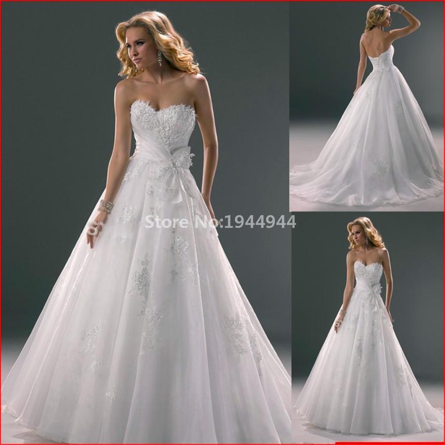 77 2015 New Arrival wedding dress Lace applique wedding dresses strapless vestidos de novia (3)