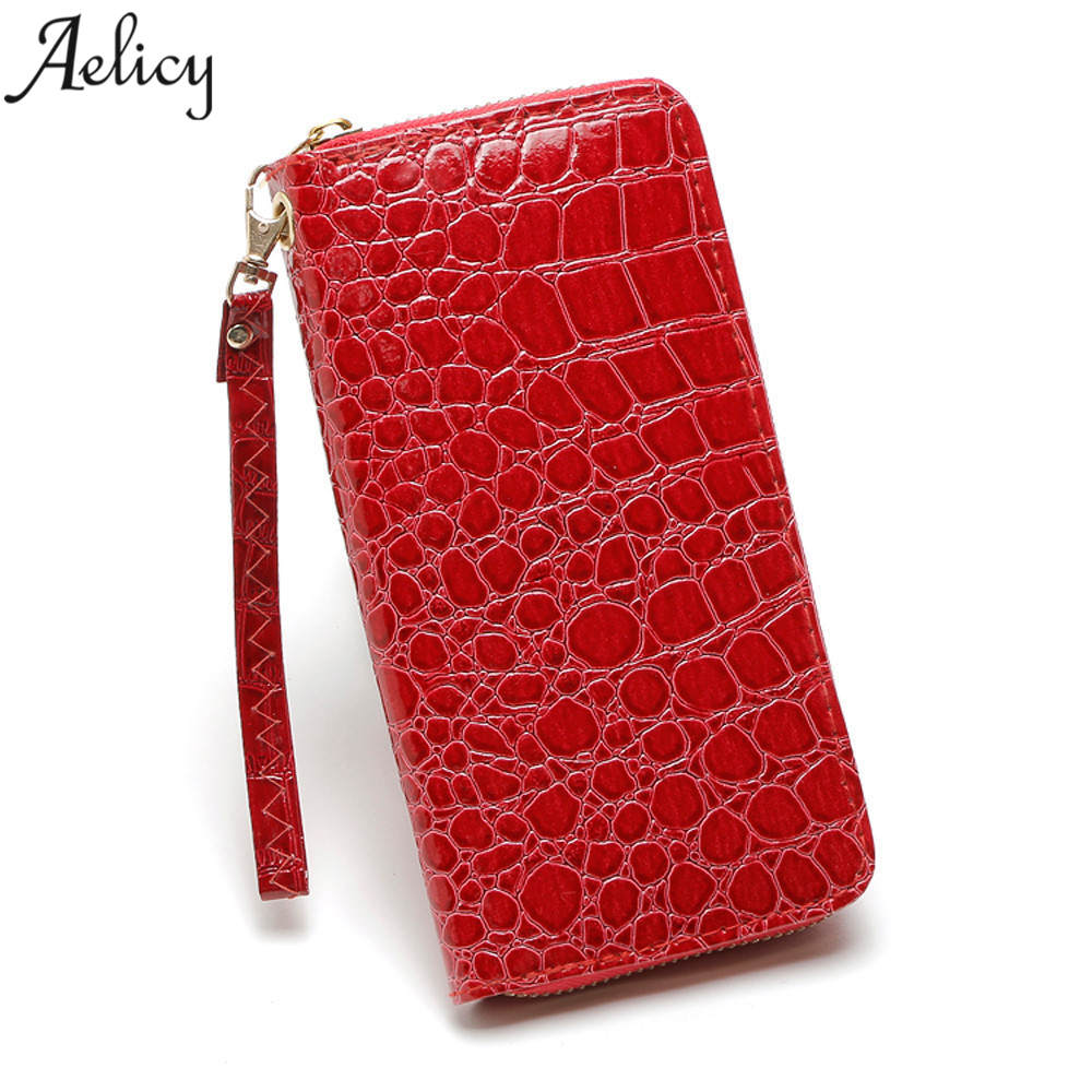 Aelicy Alligator Ladies Crocodile Long Clutch Wallets Long Designer Famous Brand Female Purse Card Holder Wallet Women Zipper aelicy long clutch women wallet female simple retro owl printing womens wallets and purses luxury brand famous card holders