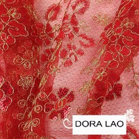 140cm wide golden line paillette red lace fabric for dress wedding dress diy patchwork material