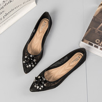 European Spring/Autumn slip on fashion adult flats pointed toe casual women shoes crystal beautiful breathable shoes woman
