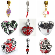 Btuamb Maxi Colorful Lollipop Evil Eyes Snowman Love Heart Enamel Alloy Beads Fit Pandora Charm Bracelets & Bangles DIY Jewelry(China)