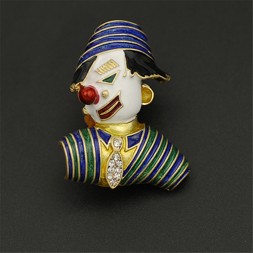 European and American character clown brooch drop glaze ename Semi-precious stonesl Imitation pearl Fashion brooches