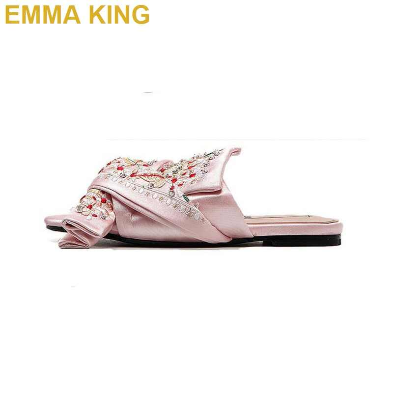 810966f3a1 Summer Retro Chic Women Rhinestone Bow Tie Slippers Silk Shoes Women Open  Toe lazy fur slippers mules Brand Ladies Flip Flops