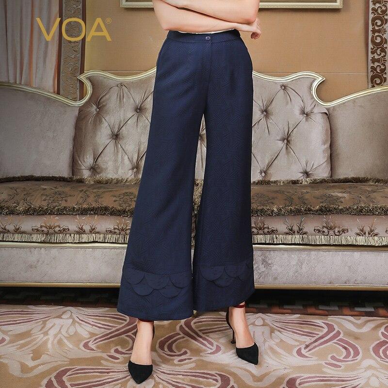 VOA new silk lotus pattern loose comfortable middle waist long   wide     leg     pants   K860