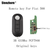 Stenzhorn 3Buttons Replacement Remote Key Fob 433MHz For Fiat 500 Grande Punto 2010 2017 Keys PCF7946