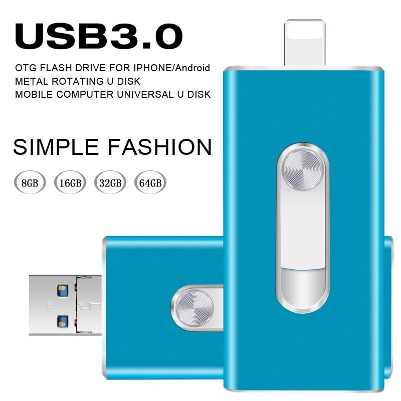 Für Iphone 5/5 s/5c/6/6 Plus/7/ipad/Android USB flash Driv Hohe Geschwindigkeit USB 3.0 OTG usb-stick 64 gb 32 gb 16 gb 8 gb Metall USB Flash