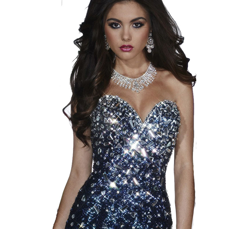 Dazzling Sweetheart Neckline Sleeveless Beaded Fully Sequined Navy blue  Mermaid prom dresses 2017 Pageant Gowns Floor Length-in Prom Dresses from  Weddings ... 1d5295b87ec3