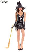 Sexy Female Black PU Leather Witch Devil Costume Adult Women Halloween Cosplay Demon Party Fantasia Dress