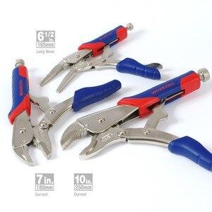 Image 4 - WORKPRO 3PC zestaw obcęg blokujących zakrzywione szczęki szczypce proste szczęki szczypce zaciskowe