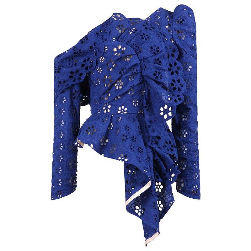 Haute qualité auto Portrait hauts femmes 2019 printemps élégant à manches longues bleu/blanc évider dentelle Blouses chemise femme Blusas