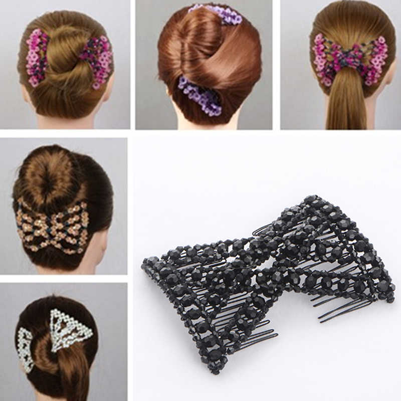 DIY Women Elastic Magic Hair Combs Vintage Hair Clip Claw Bun Maker Tools Hairstyle Fashion Pearl Beads Hairdo Hair Accessories