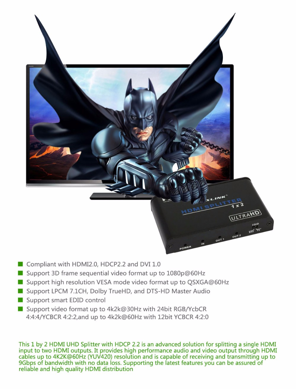 4K*2K UHD HDMI Splitter 1x2 1 Input 2 Output Repeater Switch