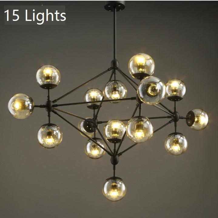 Sputnik Chandelier with Amber-yellow Glass Shade, Iron Extensions