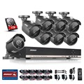 ANNKE 8CH AHD HDMI DVR 1.3MP IR Outdoor Weatherproof 8PCS CCTV Camera Home Security Surveillance CCTV System Kits 1TB HDD