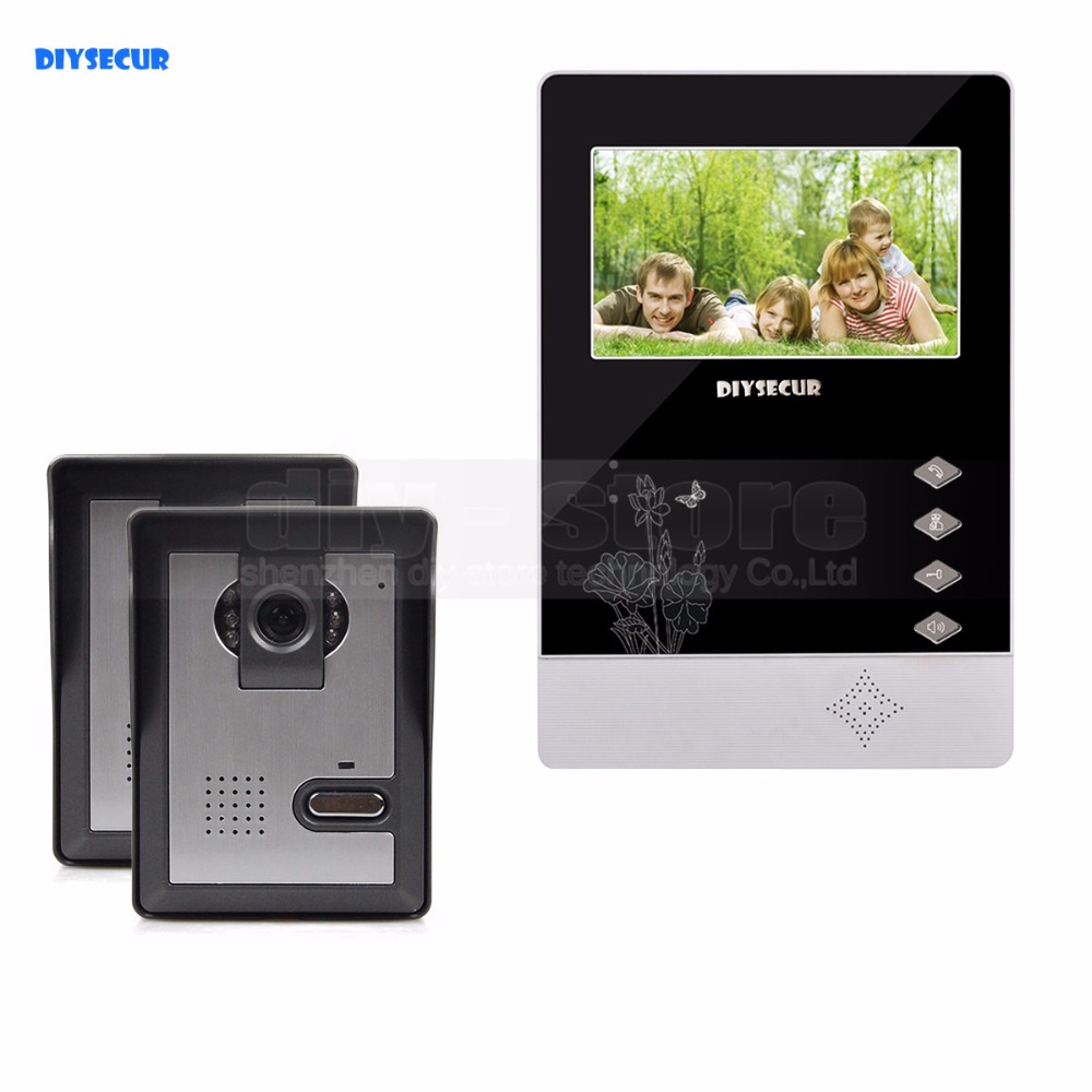 DIYSECUR 4.3 inch TFT LCD Indoor Monitor + 600 TVLine HD Camera IR Night Vision Video Door Phone Video Intercom 2V1