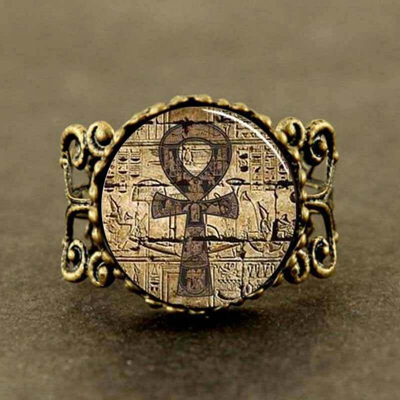 2017 New Trendy Egyptian Ankh Ring Eternal Life Ring Egypt Jewelry Round Glass Photo Silver In