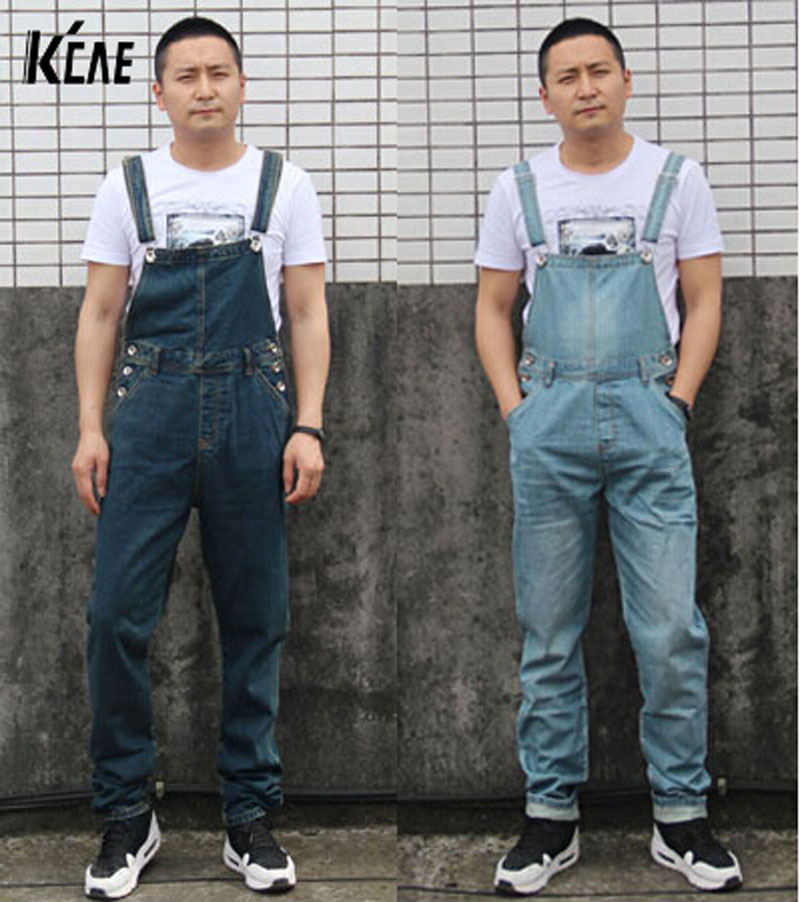 New Brand Men's Denim Bib Pants Male Loose Plus Size Casual Jeans Straight One Piece Long Trousers Suspenders Overalls Jumpsuit plus size pants the spring new jeans pants suspenders ladies denim trousers elastic braces bib overalls for women dungarees