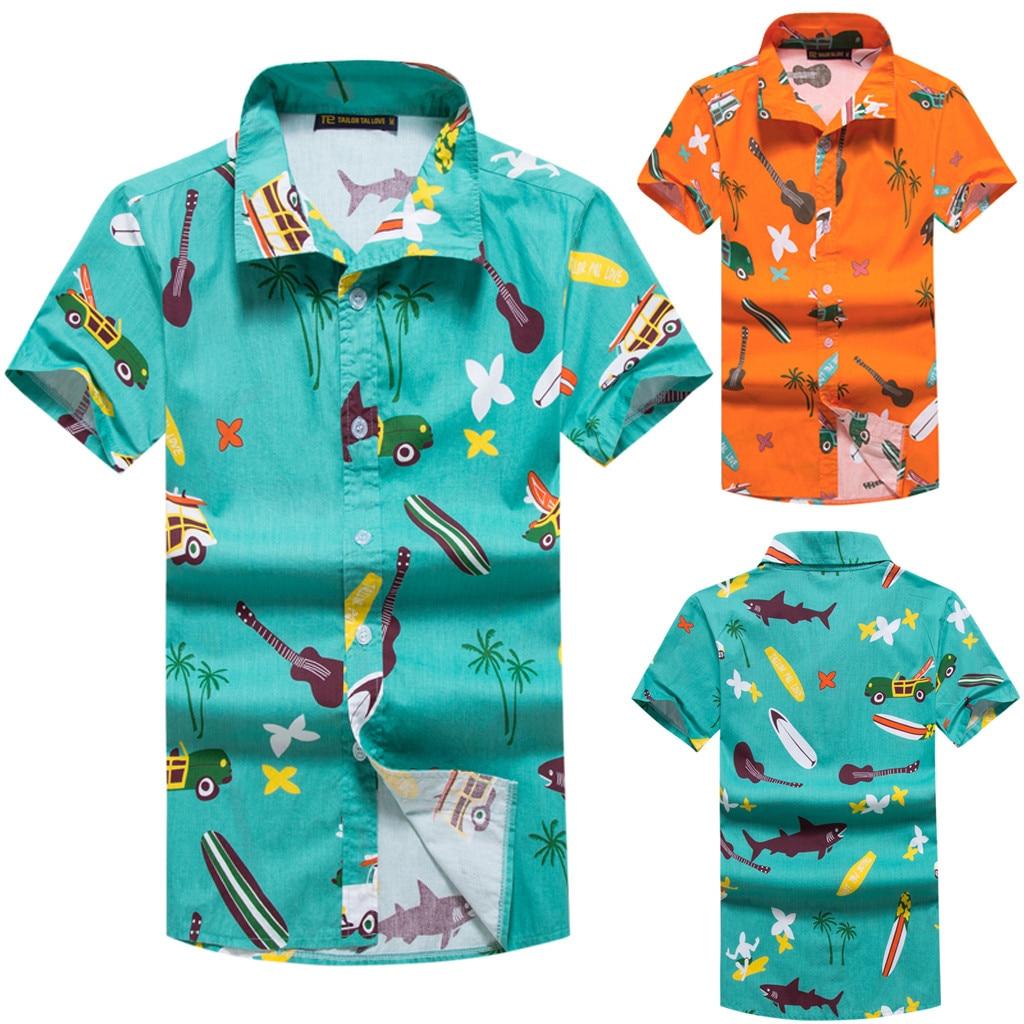 bb98da9847f 2019 Hawaii style shirt men Fashion New Beach Style Printing Cotton Short  Sleeve men shirt Tops