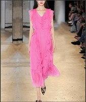 Видеть оранжевый розовый леди летнее платье женские богемные пляжные платье 2018 Сексуальная V шеи длинное платье взлетно посадочной полосы