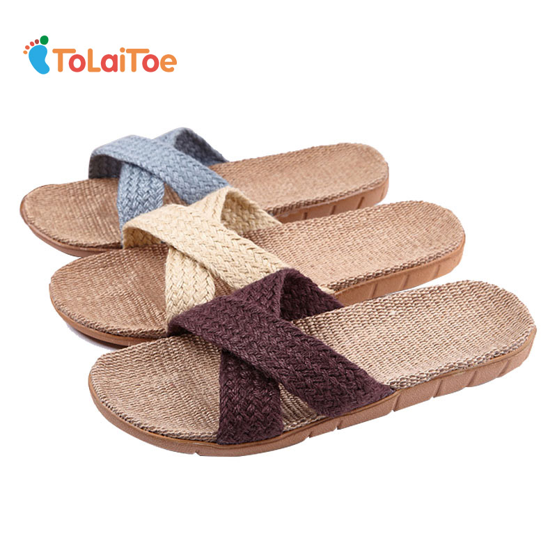 ToLaiToe Unisex New Linen Crossed Men Home Slippers Summer Cool Sweat Non-slip Shoes Couples Breathable EVA Indoor Floor Slipper animal prints home slippers summer women slippers linen indoor shoes non slip breathable slippers home female cool sandals