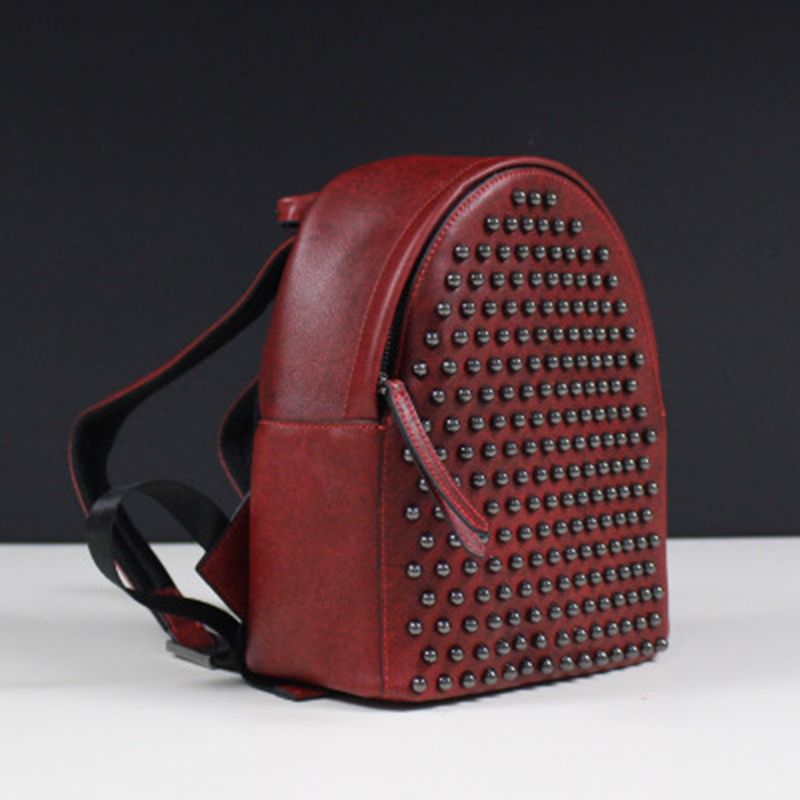 Women Bags 2017 Genuine Leather Women Backpack Cow Leather Small Rivet Top Handle Bags Red/Black Backpack Women new 2017 women cow split leather top handle bags baskets pineapple organ small handbag genuine leather mini bucket tote bags