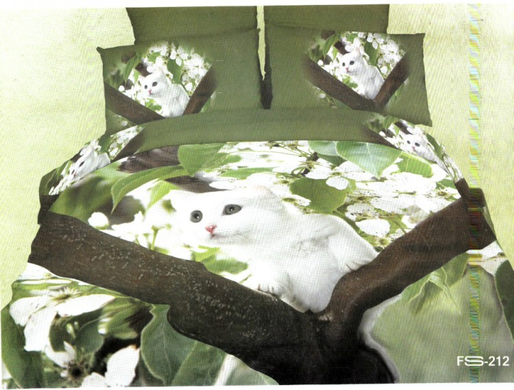 3d Green Cat Print Bedding Set Children Queen Size Duvet