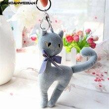 цена на HANDANWEIRAN 1PCS Mini Cat Plush Toy Creative Cute Cat Small Pendant Toys Doll Key Ring Rag  Wedding Throwing Gift 18CM