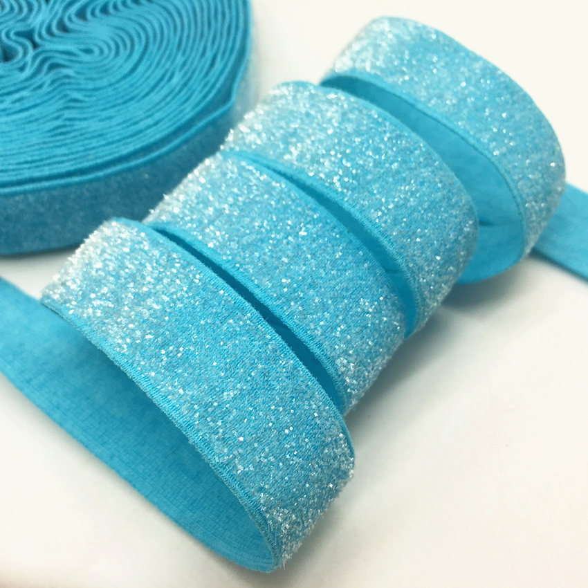 5yard 5 8 39 39 26colors Colorful Glitter Fold Over Elastic Bling Bling FOE for DIY Apparel Wedding Party gift Sewing Accessories in Elastic Bands from Home amp Garden