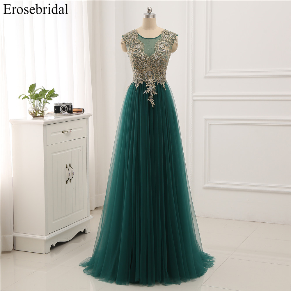 Erosebridal Gold Lace A line Evening Dress Draped Gown Formal Dress Women Elegant with Illuxion Back 7 Color Prom Party Wear-in Evening Dresses from Weddings & Events