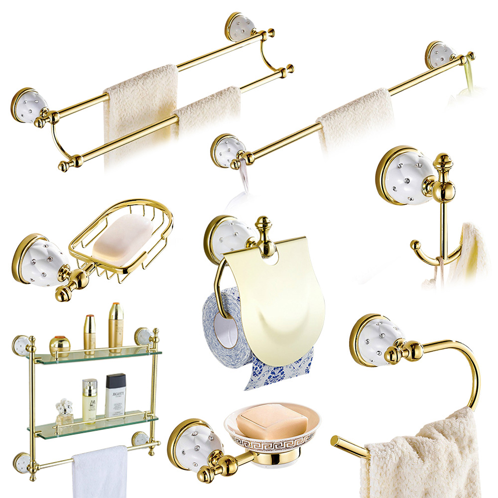 Brass bathroom accessories sets - Antique Gold Stars Bathroom Accessories Sets Crystal Brass Gold Hardware Wall Mounted Ceramic Base Bathroom Products Gc