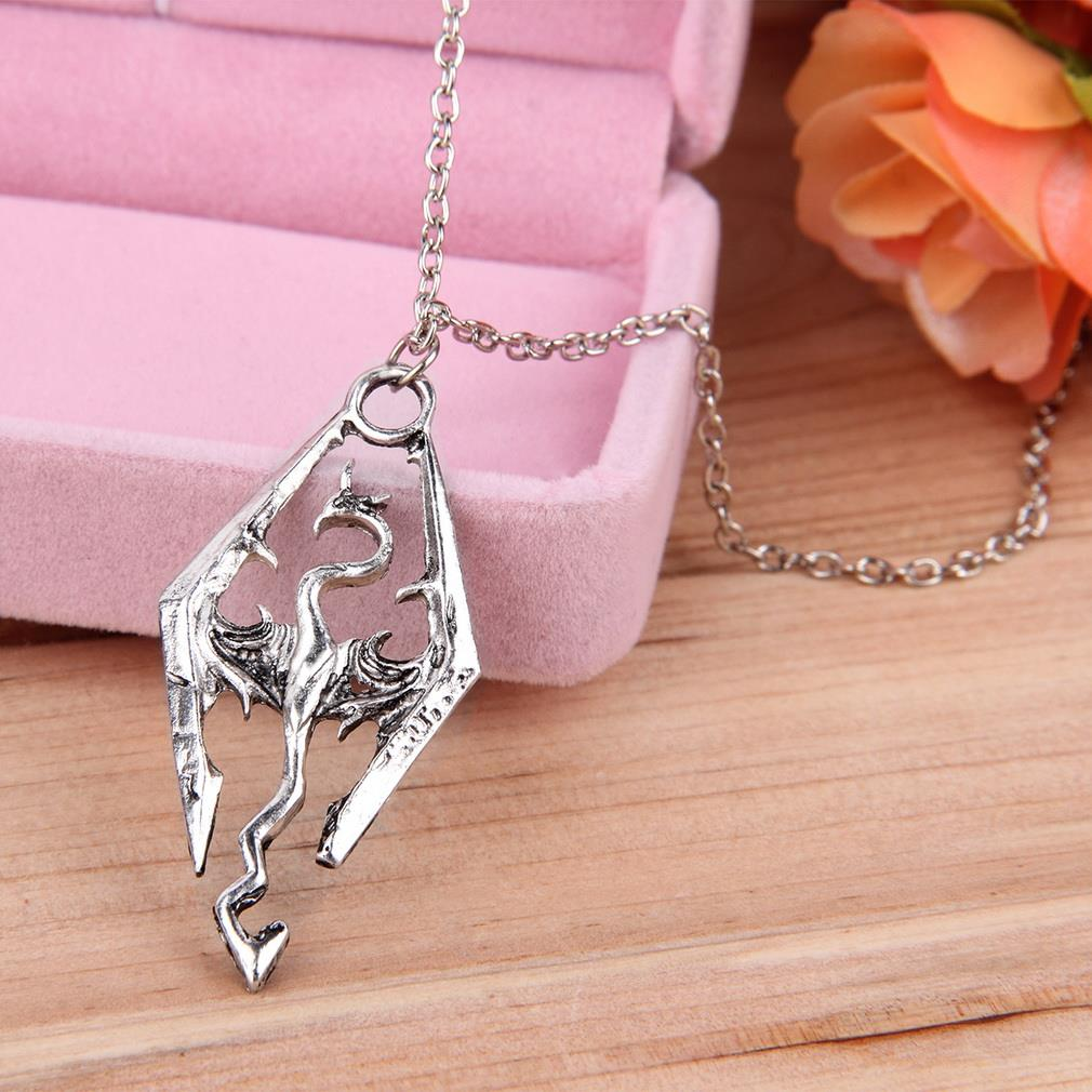 Dinosaur Pendant Necklace Skyrim Elder Scrolls Dragon Pendants Vintage Necklace for Men Women Jewelry