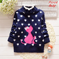 2017 Winter baby girls sweater childrens cartoon cat love thicker wool top fashion princess woollen turtleneck sweater 16D1224