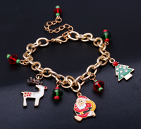 Merry Christmas Gold Chain X-mas Charm Bracelet, Newest Christmas Tree Elk Santa Claus bracelet for christmas gifts 10pcs/lot