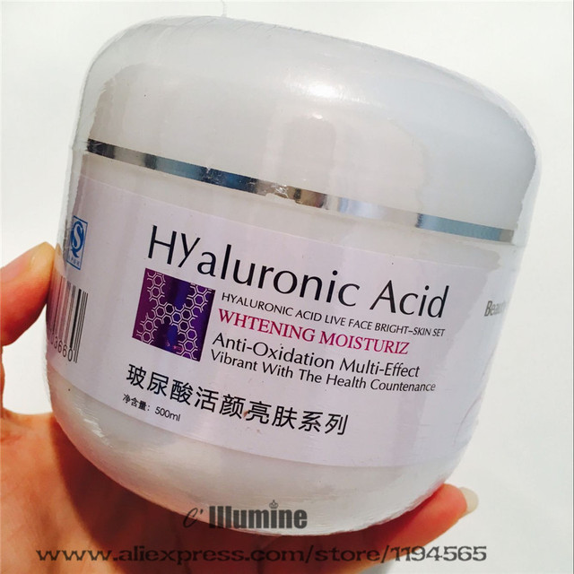 500ml Hyaluronic Aicd Cream Lock Moisture Moisturizing Anti-Aging  Beauty Salon Whitening Brightening VE VC Collagen