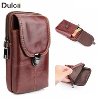 DULCII Universal Genuine Leather Vertical Holster Pouch Crazy Horse Texure Phone Bag For IPhone8plus Samsung Note