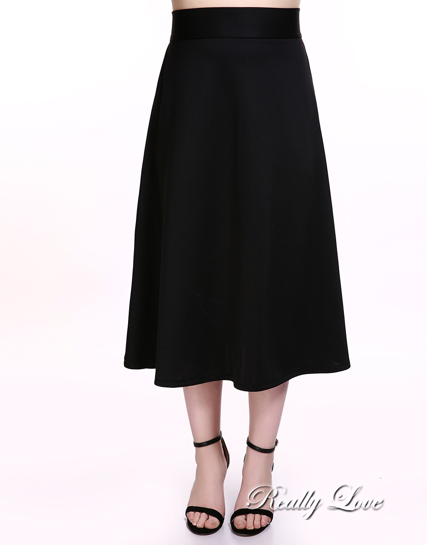 e2f7f834df12b Cute Ann Women s Plus Size A line Skirt Black And White Casual Midi Skirt  Summer Spring Cocktail Party Wear -in Skirts from Women s Clothing on ...