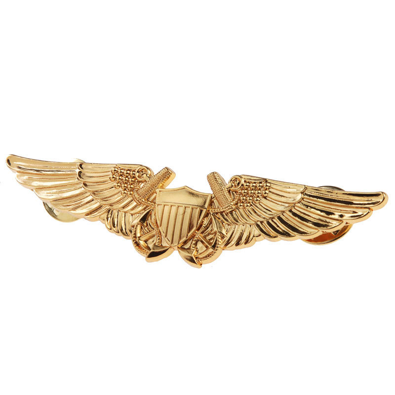 US USMC AVIATION OFFICER PILOT GOLD WING BADGE PIN BADGE -33620