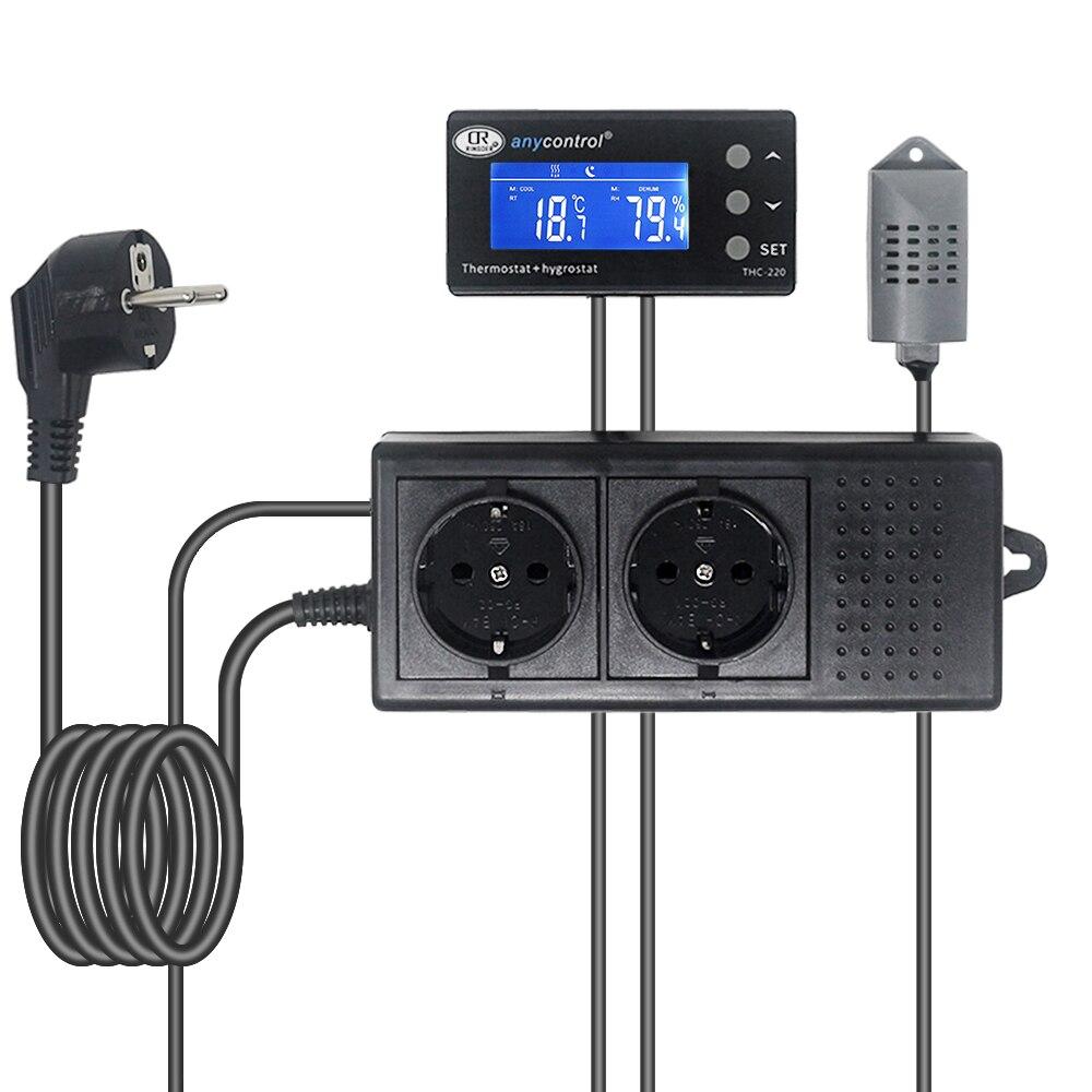 THC-220 REINO UNIDO DA UE EUA Plug Interruptor de Controle Controlador Do Termostato Regulador De Temperatura E Umidade Digital LCD AC220V 10A para Casa Verde