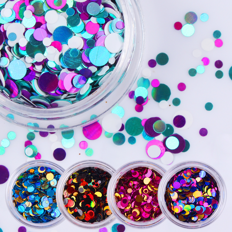 MTSSII 1 Box Round Shape Nail Glitter Tips Shining Colorful Nail Sequins Tips 35 Colors Manicure Nail Art Decoration