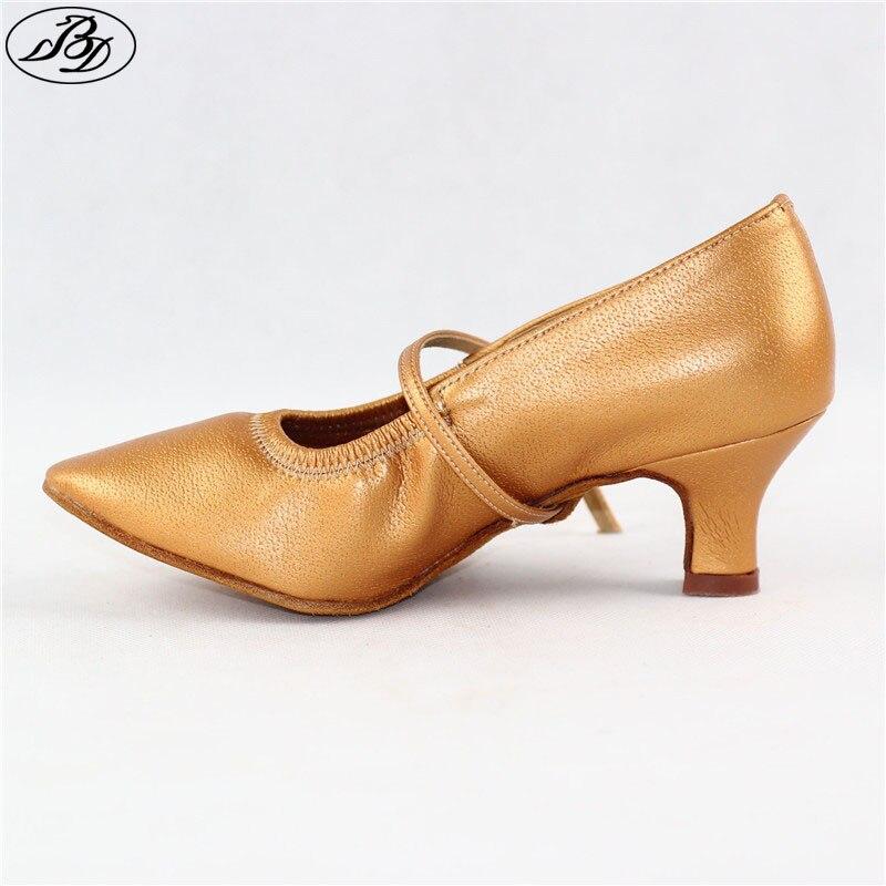 Women Standard Dance Shoes BD 125 Practice Heel Pigskin Leather Women Ballroom Dance Shoe Dancesport Dance Soft Sole latin dance shoes sneakers men shoes profession ballroom shoe modern soft cowhide premium oxford heel 4 5 cm bd 417 soft sole