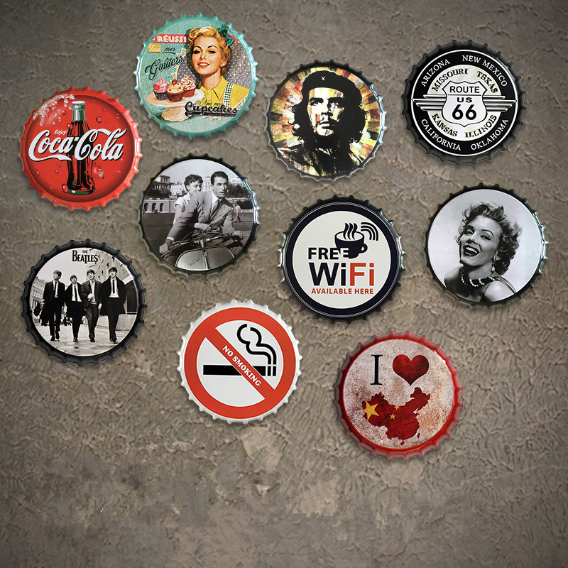 Bar Pub Club Beer Bottle Cap Metal Wall Plaques Retro Art Poster Metal Vintage Tin Signs
