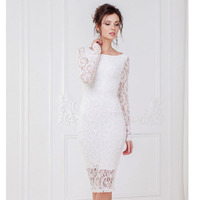 Oxiuly Women Bohemian White Lace Autumn Crochet Casual Long Sleeve Bodycon Bandage Party Sheath Dresses