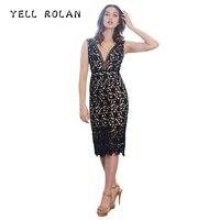 YELL ROLAN 2018 Women Lace Crochet Dress New Design Deep V Neck Midi Dress Sexy Backless Split Dresses Evening Party Vestidos XL