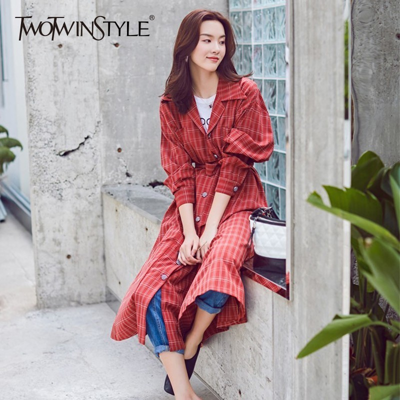 TWOTWINSTYLE Plaid Trench Coat For Women Red Long Sleeve Belt High Waist Windbreaker Lady Autumn Fashion