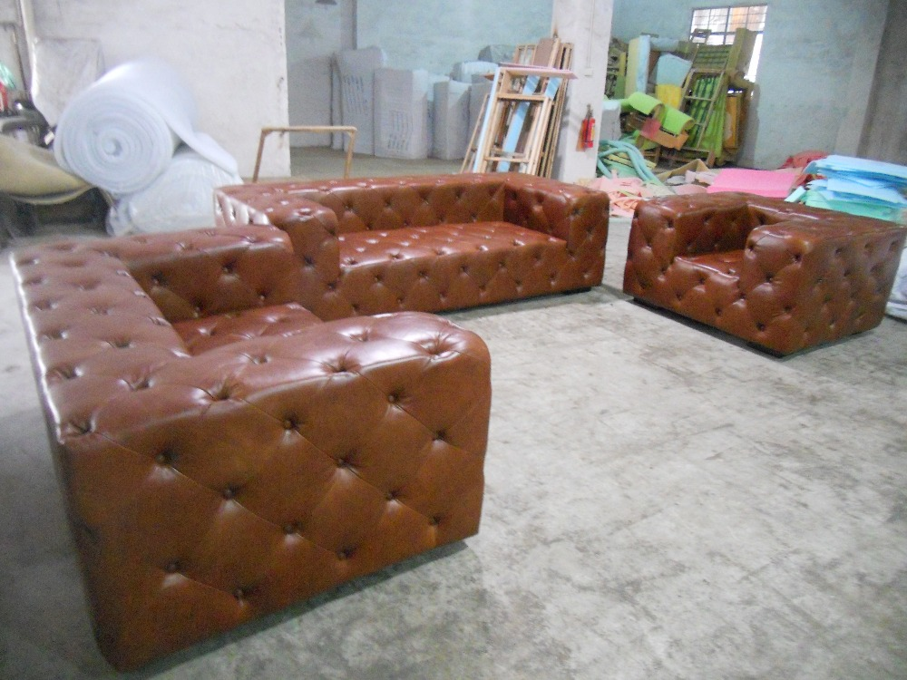 Living Room Sofa European Style Wood Oil Wax Full Leather 1 Seater Chair Chesterfield In Sofas From Furniture On Aliexpress