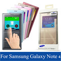 NEW Original view Flip Cover Smart Flip Leather Case For Samsung Galaxy Note 4 N9100 Battery Housing Back Cover Retail Package