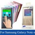 NEW Original view Virar Smart Cover Caso de Couro Da Aleta Para Samsung Galaxy Note 4 N9100 Bateria Habitação Back Cover Retail pacote